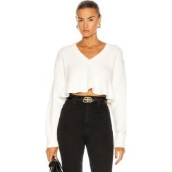 Cropped V Neck Sweater - White - T By Alexander Wang Knitwear found on Bargain Bro India from lyst.com for $350.00