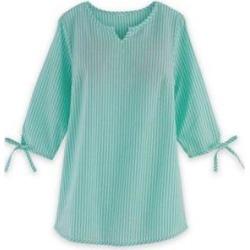 Women's Plus Three-Quarter Sleeve Summer Breeze Seersucker Top, Beach Glass Green XL found on Bargain Bro India from Blair.com for $36.99