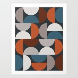 Art Print | Mid Century Modern Geometric 24 by The Old Art Studio - X-Small - Society6 found on Bargain Bro India from Society6 for $21.59