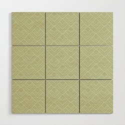 Wooden Wall Art   Elegant Green Mid Century Modern Geometry Pattern by Anutu Studio Designs - 3' X 3' - Society6 found on Bargain Bro India from Society6 for $104.99
