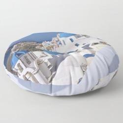 "Floor Pillow | Oia Village In Santorini by Sasas Photography - ROUND - 30"" x 30"" - Society6"