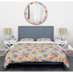 Designart 'Retro Pink Yellow Flowers' Mid-Century Duvet Cover Set (Twin Cover + 1 sham (comforter not included)), DESIGN ART found on Bargain Bro India from Overstock for $101.99