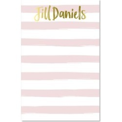 idesign + co Notepads and Notebooks - Pink Stripe & Gold Personalized Note Pad found on Bargain Bro from zulily.com for USD $13.67