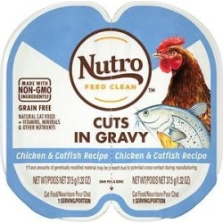 Nutro Perfect Portions Grain-Free Cuts in Gravy Chicken & Catfish Recipe Adult Cat Food Trays, 2.64-oz, case of 24 twin-packs
