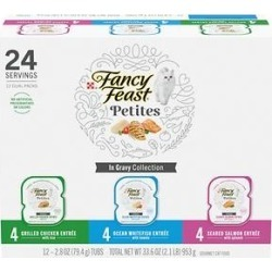 Fancy Feast Petites Gourmet Gravy Collection Variety Pack Wet Cat Food, 2.8-oz, case of 12 found on Bargain Bro from Chewy.com for USD $9.76