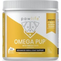 Pawlife Omega Pup Advanced Skin & Coat Support Salmon Flavor Soft Chews Dog Supplement, 120 count