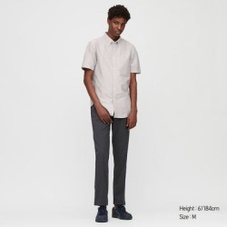 UNIQLO Men's Oxford Slim-Fit Short-Sleeve Shirt, Gray, XL found on Bargain Bro India from Uniqlo for $29.90