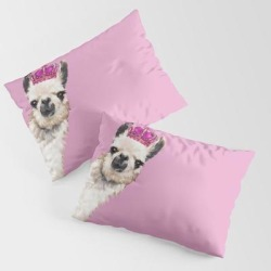 Llama Queen In Pink King Size Pillow Sham by Big Nose Work - STANDARD SET OF 2 - Cotton