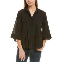 Vince Paneled Popover Top (XS), Women's, Black(cotton) found on Bargain Bro India from Overstock for $83.59