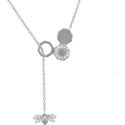 Diamond Honey Bee Comb Pendant Necklace Silver - Metallic - Latelita London Necklaces found on Bargain Bro from lyst.com for USD $443.84