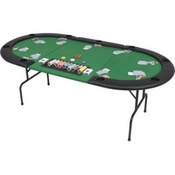 vidaXL 9-Player Folding Poker Table 3 Fold Oval Green (Green) found on Bargain Bro Philippines from Overstock for $279.99