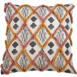 Diamond Block Print Embroidered Pillow (Feather Down), Multicolor, Saro Lifestyle(Cotton) found on Bargain Bro Philippines from Overstock for $55.34