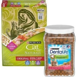 Cat Chow Naturals Original Dry Food + DentaLife Savory Salmon Flavor Dental Cat Treats found on Bargain Bro from Chewy.com for USD $21.26