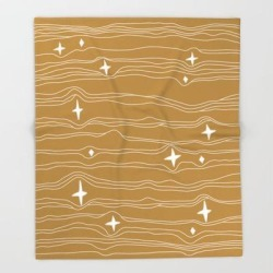 Bed Throw Blanket | Star Fabric Gold by Urban Wild Studio Supply - 51