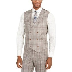TALLIA Mens Brown Plaid Sleeveless Classic Fit Button Down Vest 40L (Brown - 40L), Men's(Wool Blend) found on Bargain Bro Philippines from Overstock for $18.98