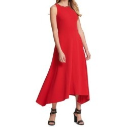 DKNY Women's Dress Red Size 12 Sheath Necklace Handkerchief Midi (12)(polyester) found on Bargain Bro from Overstock for USD $41.02