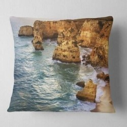 Designart 'Golden Rocks and Beach at Algarve' Seashore Throw Pillow (Square - 18 in. x 18 in. - Medium), DESIGN ART(Polyester, Nature) found on Bargain Bro from Overstock for USD $26.33