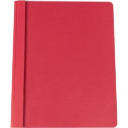 """Universal Office UNV57123 11"""" x 8 1/2"""" Red Leatherette Embossed Paper Report Cover with Clear Cover and Prong Fasteners, Letter - 25/Box"""