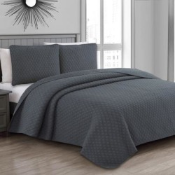 Estate Collection Fenwick Quilt Set by American Home Fashion in Charcoal Gray (Size TWIN)