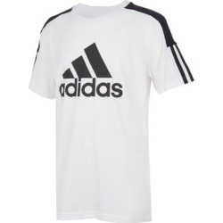 adidas Boys' Tee Shirts WHITE - White & Black Color-Block Stripe Logo Tee - Boys found on Bargain Bro India from zulily.com for $15.99