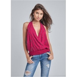 Embellished Halter Neck Top Tops - Pink found on Bargain Bro India from Venus.com for $54.00
