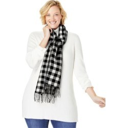 Plus Size Women's Plaid Fringed Scarf by Woman Within in Ivory Plaid found on Bargain Bro Philippines from fullbeauty for $29.99