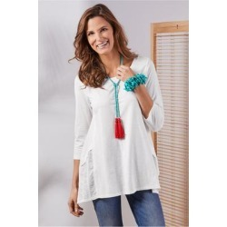Women Gemma 3/4 Sleeve T-shirt by Soft Surroundings, in White size 1X (18-20)