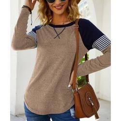 Camisa Women's Blouses Khaki - Khaki & Navy Color Block Raglan Top - Women found on Bargain Bro from zulily.com for USD $12.91