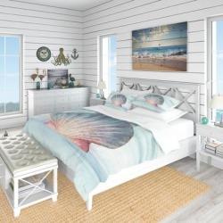 Designart 'Ocean Shell on Blue' Coastal Bedding Set - Duvet Cover & Shams (Twin Cover + 1 sham (comforter not included)), DESIGN ART found on Bargain Bro from Overstock for USD $94.99