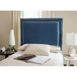 Safavieh Cory Navy Upholstered Headboard - Silver Nailhead (Twin) found on Bargain Bro from Overstock for USD $177.07
