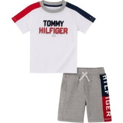 Tommy Hilfiger Boys' Casual Shorts - White 'Tommy Hilfiger' Tee & Gray 'Hilfiger' Shorts - Toddler found on Bargain Bro from zulily.com for USD $12.01