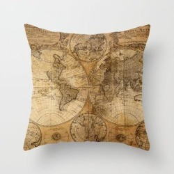 "World Map 1746 Couch Throw Pillow by Map Shop - Cover (16"" x 16"") with pillow insert - Indoor Pillow"