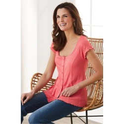 Women Novalie T-Shirt by Soft Surroundings, in Rose size 1X (18-20)