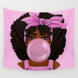 Wall Hanging Tapestry | Bubble Gum Portrait by Kira The Artist - 51