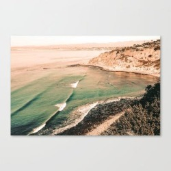 Canvas Print   California Pacific Coast Highway // Vintage Waves Crashing On The Beach Teal Ocean Water by Desertxpalm - LARGE - Society6