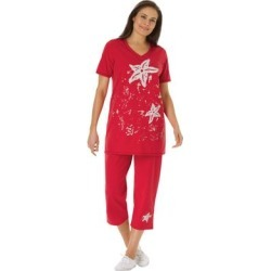Plus Size Women's Starfish Tunic and Capri Set by Woman Within in Vivid Red Starfish (Size 3X) found on Bargain Bro Philippines from fullbeauty for $34.99