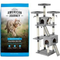 American Journey Salmon Recipe Grain-Free Dry Food + Frisco 72-in Faux Fur Cat Tree & Condo, Gray found on Bargain Bro Philippines from Chewy.com for $107.09