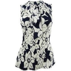 DKNY Women's Floral-Print Pleated Tie-Neck Top (Classic Navy/ Silver Cloud - XS), Blue(polyester) found on Bargain Bro Philippines from Overstock for $21.95