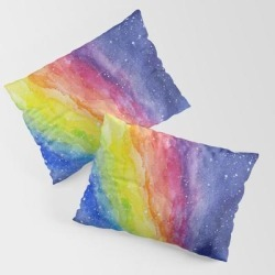 A Rainbow In Space King Size Pillow Sham by Olechka - STANDARD SET OF 2 - Cotton