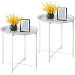 VECELO Round Table/ End Table for Living room/ Bedroom Gry(Set of 1/Set of 2) (set of 2), Gray