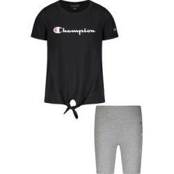 Champion Girls' Active Shorts BLACK/OXFORD - Black Classic Logo Tie-Front Tee & Oxford Heather Logo Bike Shorts - Toddler & Girls found on Bargain Bro from zulily.com for USD $9.87