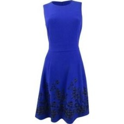 Calvin Klein Women's Embroidered A-Line Dress (8), Blue(polyester) found on Bargain Bro Philippines from Overstock for $79.99
