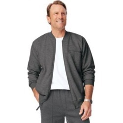 Men's John Blair® Four-Season Fleece Baseball Jacket, Charcoal Heather Grey M found on Bargain Bro Philippines from Blair.com for $27.99