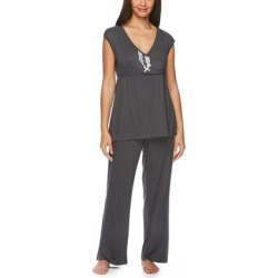 Lamaze Maternity Intimates Women's Sleep Bottoms Graphite - Graphite Lace-Accent Maternity/Nursing Pajama Set found on Bargain Bro India from zulily.com for $18.99