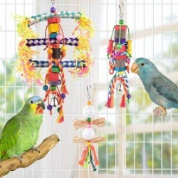 KATIER Small Bird Toys, Natural Wood Ladder Colorful Bamboo Hanging Shredding Toys Parrot Chew Wooden Blocks Bird Perch For Parakeets, Conures