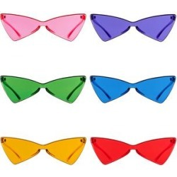 AOOFFIV Sunglasses Pink+Purple+Green+Blue+Orange+Red - Bright Angular Cat-Eye Sunglasses Set found on Bargain Bro from zulily.com for USD $15.19