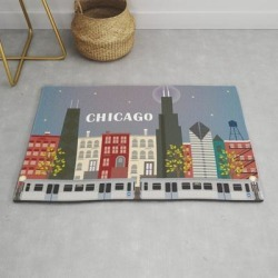 Modern Throw Rug | Chicago, Illinois - Skyline Illustration By Loose Petals by Loose Petals - 2' x 3' - Society6 found on Bargain Bro from Society6 for USD $29.79