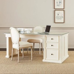 Tuscan Desk Return with Glass Topper - Ballard Designs found on Bargain Bro India from Ballard Designs for $1999.00