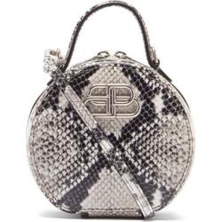 Vanity Bb-logo Python-effect Leather Clutch Bag - Metallic - Balenciaga Clutches found on Bargain Bro from lyst.com for USD $642.20