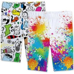 Sunshine Swing Girls' Casual Shorts - White & Red Splatter Bike Shorts Set - Girls found on Bargain Bro from zulily.com for USD $12.91